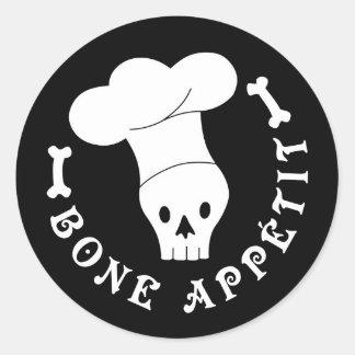 Bone Appetit Skeleton Chef Round Sticker