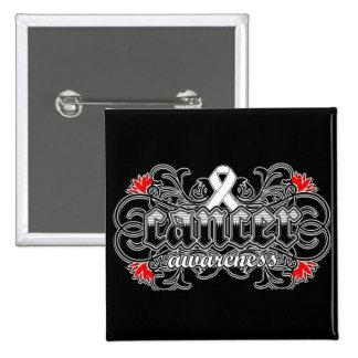 Bone Cancer Awareness Floral Ornamental Pinback Buttons