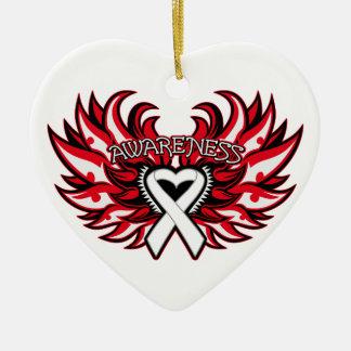 Bone Cancer Awareness Heart Wings Christmas Ornament