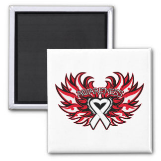 Bone Cancer Awareness Heart Wings.png Square Magnet