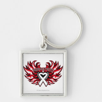 Bone Cancer Awareness Heart Wings.png Silver-Colored Square Key Ring
