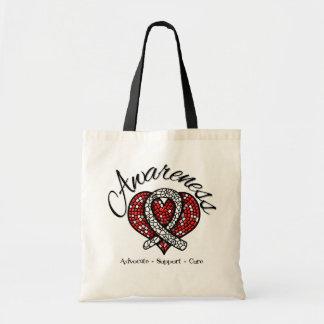 Bone Cancer Awareness Mosaic Heart Budget Tote Bag