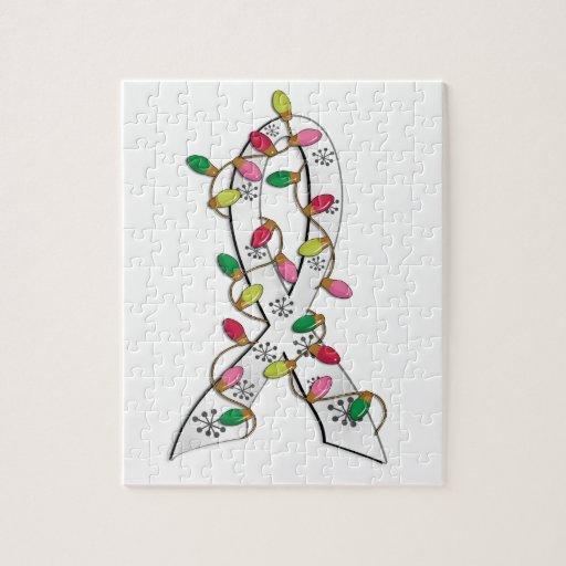 Bone Cancer Christmas Lights Ribbon Jigsaw Puzzles