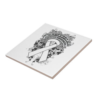 Bone Cancer - Cool Support Awareness Slogan Ceramic Tile