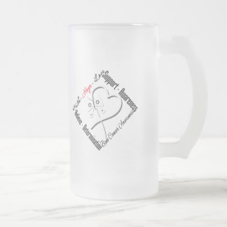 Bone Cancer Faith Hope Love Butterfly 16 Oz Frosted Glass Beer Mug