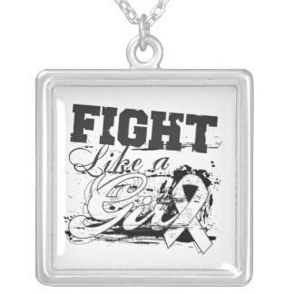 Bone Cancer Fight Like A Girl Distressed Square Pendant Necklace