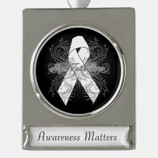Bone Cancer Flourish Hope Faith Cure Silver Plated Banner Ornament