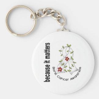 Bone Cancer Flower Ribbon 3 Basic Round Button Key Ring