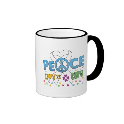 Bone Cancer Groovy Peace Love Cure Mugs