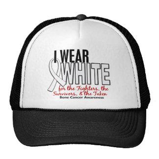 Bone Cancer I Wear White Fighters Survivors Taken Trucker Hat