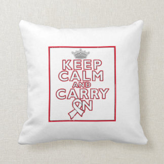 Bone Cancer Keep Calm and Carry On Throw Pillow