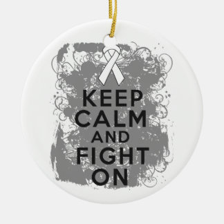 Bone Cancer Keep Calm and Fight On.png Christmas Tree Ornament
