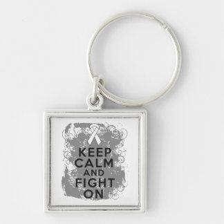 Bone Cancer Keep Calm and Fight On.png Silver-Colored Square Key Ring