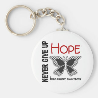 Bone Cancer Never Give Up Hope Butterfly 4.1 Basic Round Button Key Ring