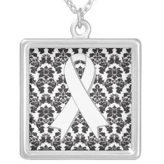 Bone Cancer Ribbon Damask Deco Square Pendant Necklace