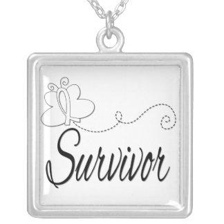 Bone Cancer Survivor Butterfly Ribbon Square Pendant Necklace