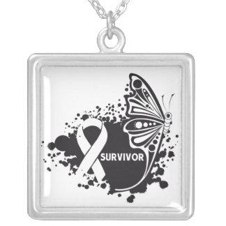 Bone Cancer Survivor Tattoo Butterfly Square Pendant Necklace