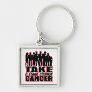 Bone Cancer -Take A Stand Against Cancer Silver-Colored Square Key Ring