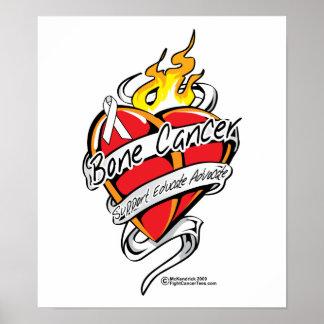 Bone Cancer Tattoo Heart Poster