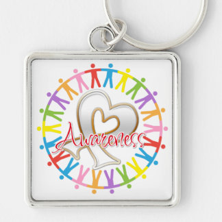 Bone Cancer Unite in Awareness Silver-Colored Square Key Ring