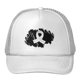 Bone Cancer White Ribbon With Scribble Trucker Hat