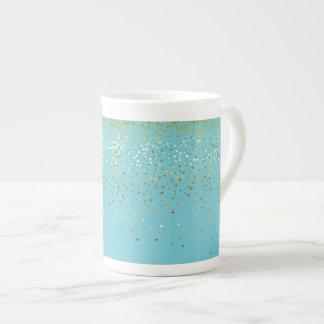 Bone China Mug-Petite Golden Stars-Aqua Tea Cup