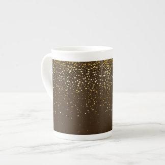 Bone China Mug-Petite Golden Stars-Brown Tea Cup