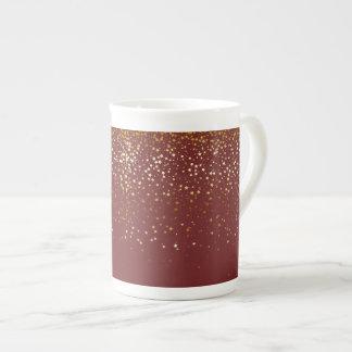 Bone China Mug-Petite Golden Stars-Burgundy Tea Cup
