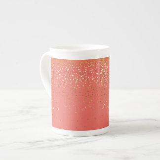 Bone China Mug-Petite Golden Stars-Coral Tea Cup