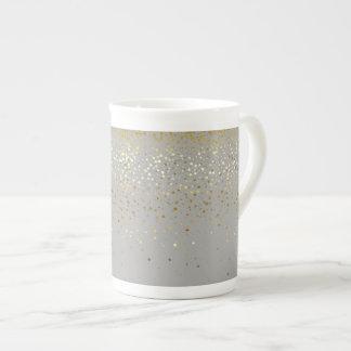 Bone China Mug-Petite Golden Stars-Grey Tea Cup