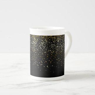 Bone China Mug-Petite Golden Stars-Noir Tea Cup