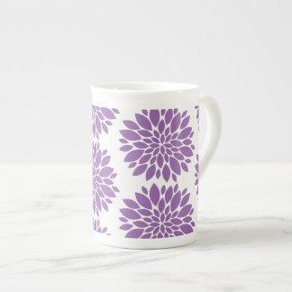 Bone China Mug-Purple Flowers Tea Cup