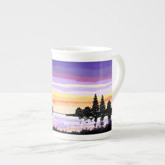 Bone China Mug sunset lake scene