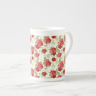 Bone China Mug-Vintage Red Roses Tea Cup
