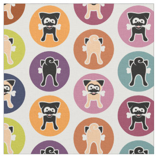 Bone! Circle Print (Fawn & Black Pugs) Fabric