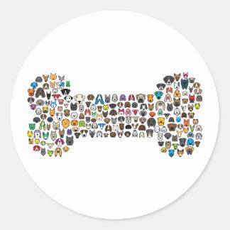 BONE Dog Cartoon Round Sticker