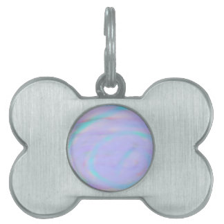 Bone Pet Tag with a rainbow swirl pattern