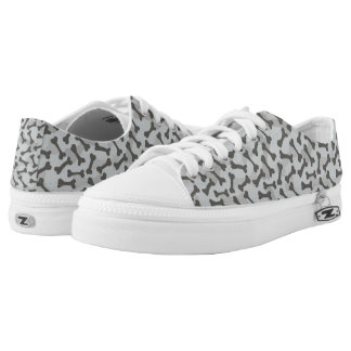 Bone Texture Pattern Greyscale Printed Shoes