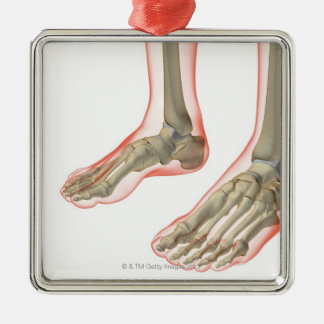 Bones of the Feet Silver-Colored Square Decoration