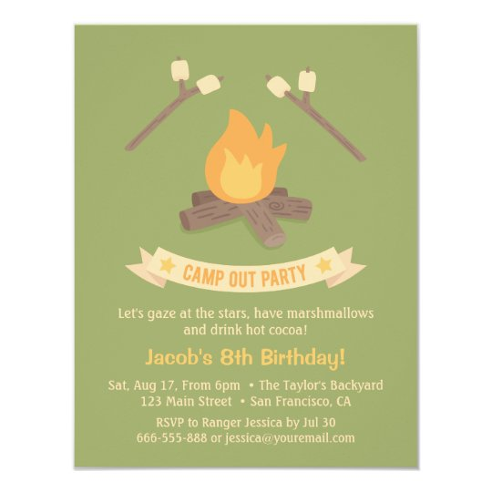 Bonfire Camp Out Kids Birthday Party Invitations