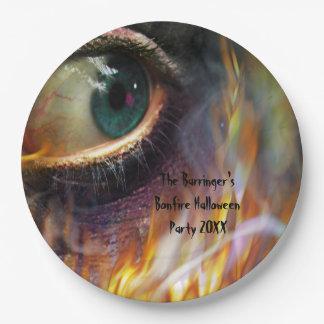 Bonfire Evil Eye Flames Halloween 9 Inch Paper Plate