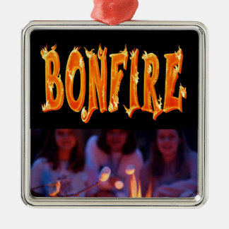 Bonfire fire text christmas ornament