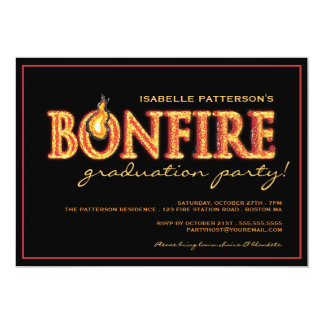 Bonfire Flames Graduation Party Invitation