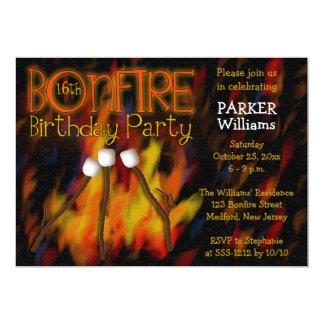 Bonfire Marshmellow Roast 16th Birthday Party 13 Cm X 18 Cm Invitation Card