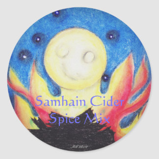 Bonfire Moon Samhain Witch Wiccan Craft Label Round Sticker