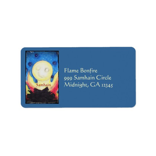 Bonfire Moon Samhain Witch Wiccan Pagan Address Label