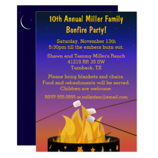 Bonfire Outdoor Gathering 11 Cm X 16 Cm Invitation Card