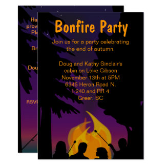 Bonfire Outdoor Party Two Sided Invitation