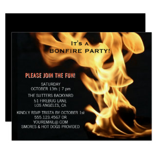 Bonfire Party Campfire Flames Camp Out Card