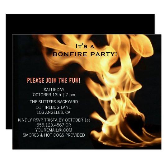 Bonfire Party Campfire Flames Camp Out Invitation